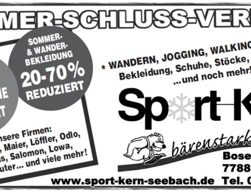 Sommerschlussverkauf bei Sport-Kern in Seebach! Kommt rauf die Preise gehen runter! Noch für kurze Zeit!