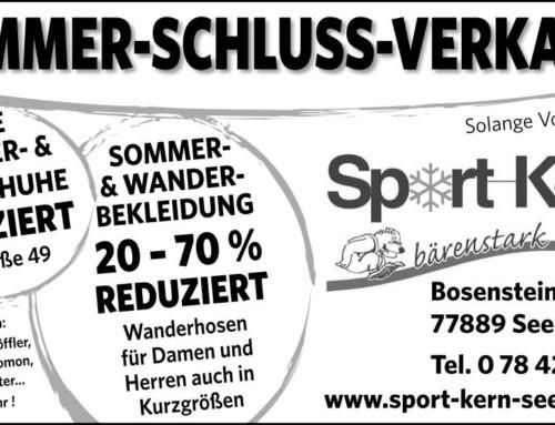 Noch für kurze Zeit!!! Sommerschlussverkauf bei Sport-Kern in Seebach!